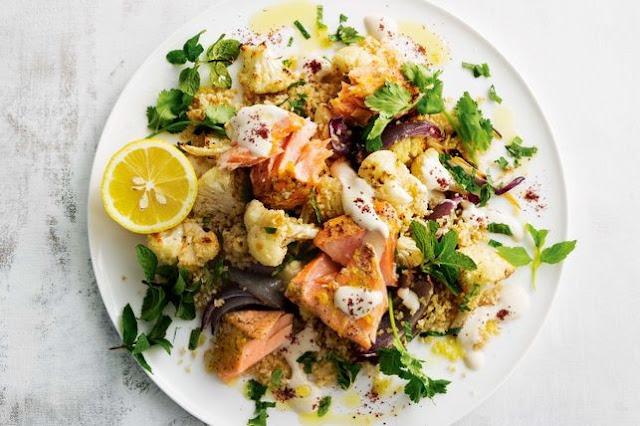 Lebanese roast salmon and cauliflower salad