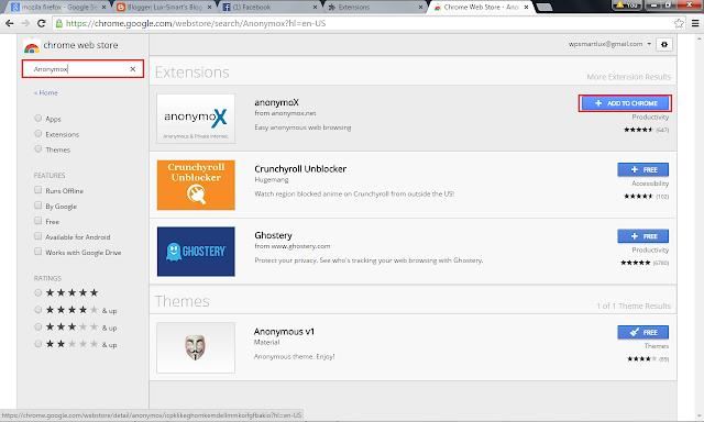 Anonymox di Chrome untuk Busa Situs Terblokir