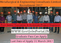 Metallurgical & Engineering Consultants Limited Recruitment 2017–Junior Executive, Assistant Project Engineer