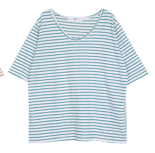 Striped Round Neck Half Sleeve T-Shirt