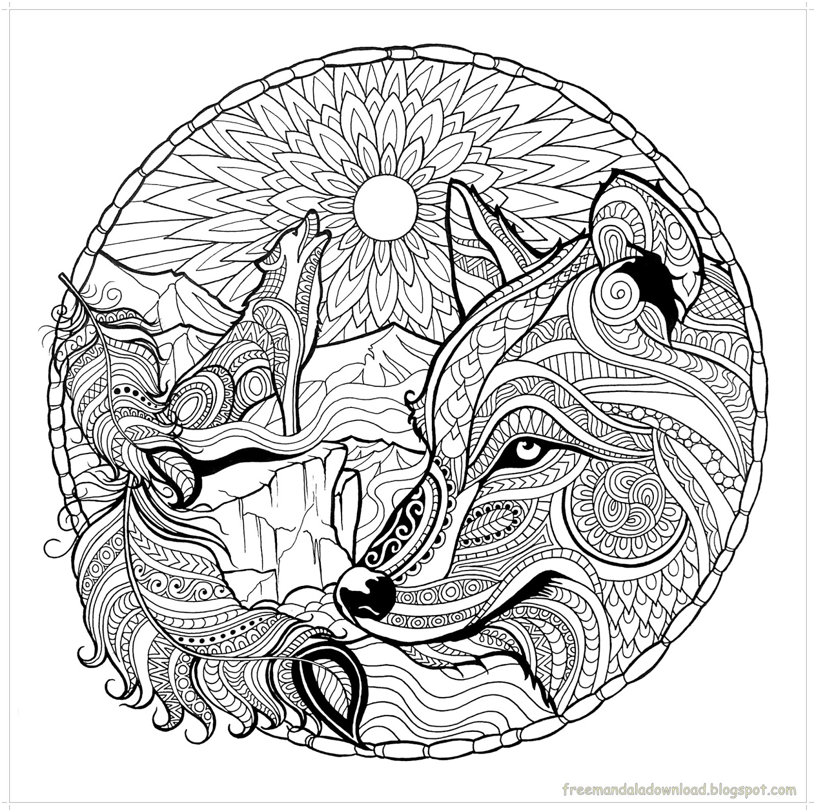 Malvorlagen wolf mandala hohe qualit t wolf mandala for Coloring pages of wolfs