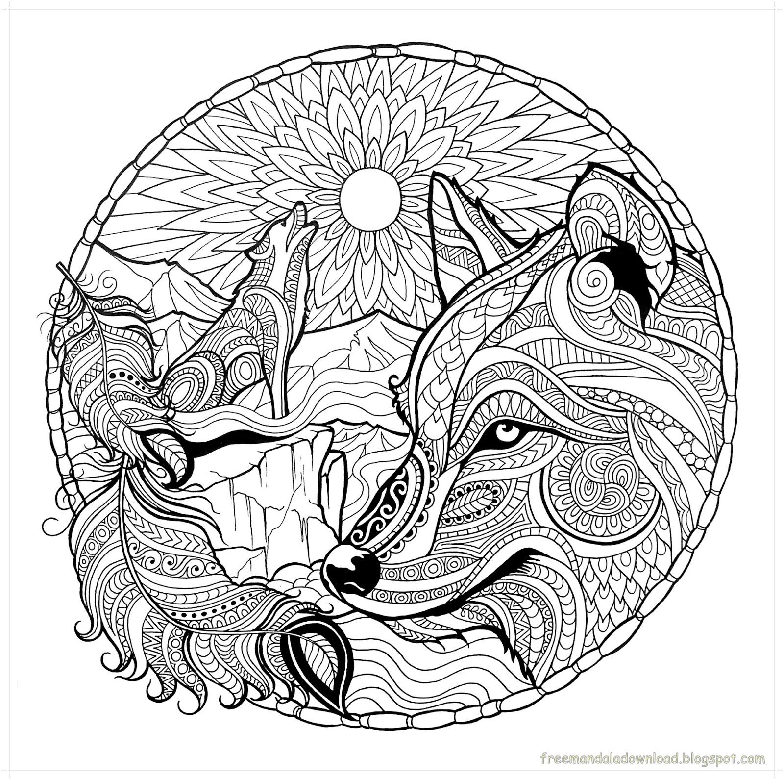 Malvorlagen Wolf-Mandala-hohe QualitätWolf mandala