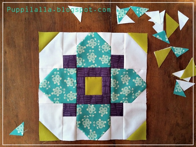 Puppilalla, Quatrefoil, Stash Bee, Quilting Bee Block, Patchwork Block