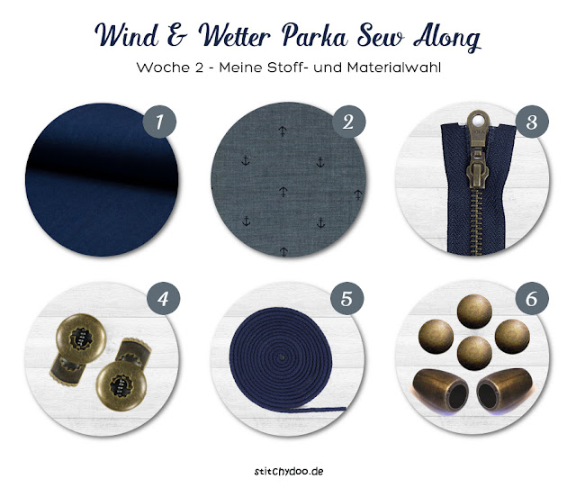 stitchydoo: Wind und Wetter Parka Sew Along - Meine Stoff- und Materialwahl - Moodboard