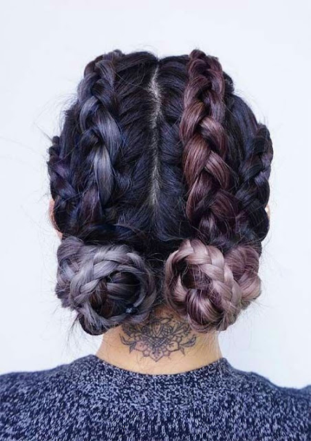 Top braided bans crown hairstyle