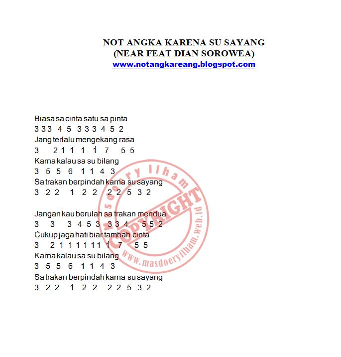 Not Angka Karna Su Sayang Near Feat Dian Sorowea