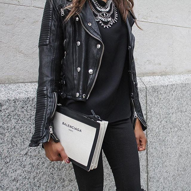 A statement necklace with your leather jacket