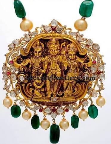 Ram Lakshman Pendant with Pachi Work