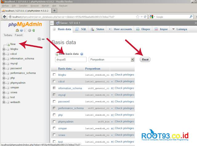 halaman php myadmin untuk membuat database