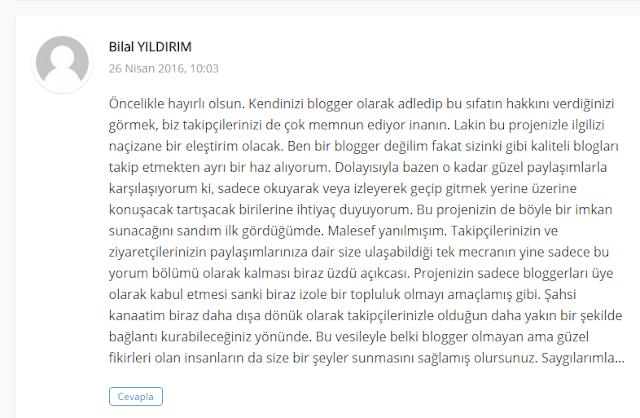 BlogSözlük'e, Blog Sahibi olmayanların da kayıt olabilmesinin önünü açan yorum.