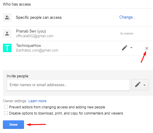 Turn off File Sharing on Google Drive
