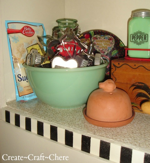 Retro kitchen makeover cookie cutter display with antique salt and pepper shakers  with Mary Engelbreit inspirations