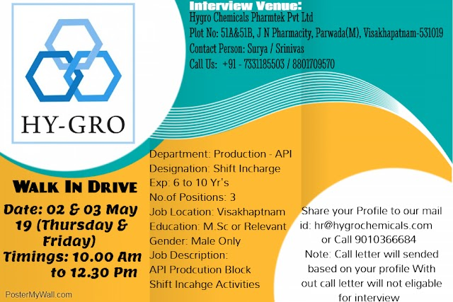 Walk in Drive for Hy-Gro Chemicals on 4th may 2019