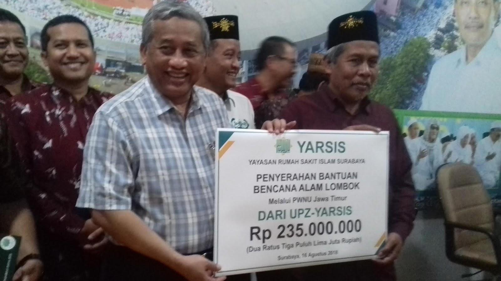 Yarsis Sumbang Korban Gempa Lombok Melalui Pwnu Jatim Media Rumah Untuk Surabaya Yayasan Sakit Islam Yang Membawahi Empat Unit Usaha Masing Universitas Nu Unusa