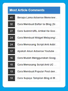 Memasang Most Article Comments Widget Untuk Blogger