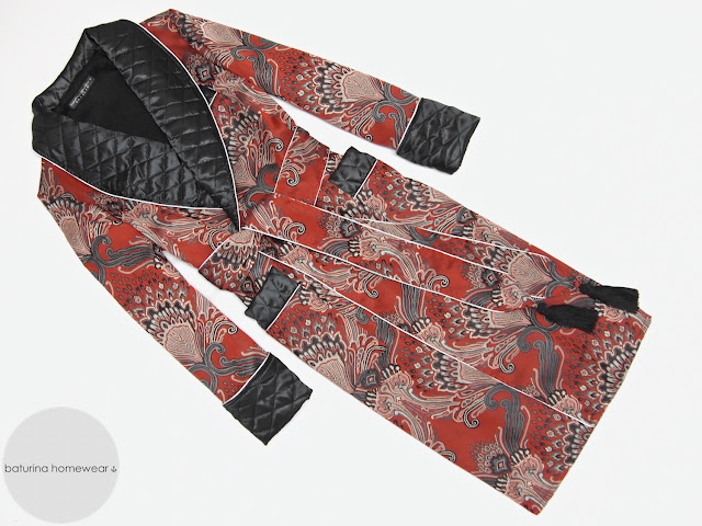 Mens red paisley silk robe jacquard dressing gown warm quilted smoking jacket gentleman