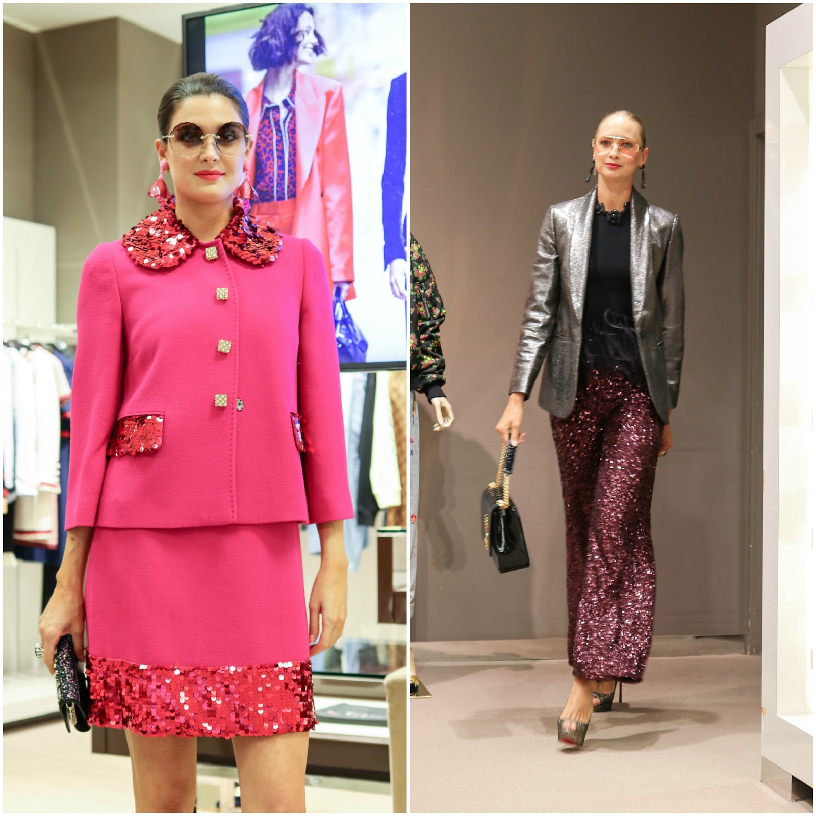 Hot Pink Skirt Suit with sequin, sequin flared pants