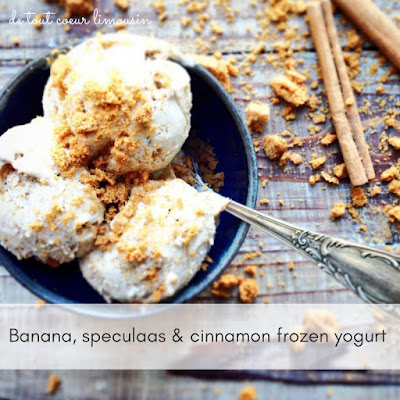 frozen yogurt, ice cream, no churn icecream, banana, recipe, food blogger, speculaas, speculoos, spice, cinnamon, biscuits, de tout coeur limousin, Limousin, France, biscoff, autumn, seasonal, retreat, France, Creuse, foodie, Guardian Food, weekend food, fro yo, low fat, home cooking, holidays, France,egg free, vegetarian, yoghurt, yaourt, recette, Greek yogurt,