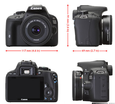 Ukuran kamera DLSR Canon EOS 100D yang kecil membuatnya hampir setara dengan kamera jenis Mirrorless