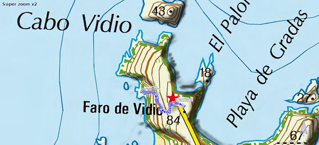 Mapa de la bajada a la Iglesiona del Cabo Vidio