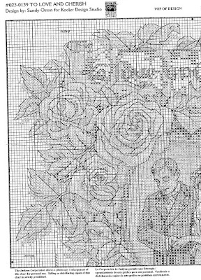 Sampler matrimonio- schema punto croce free sposi e rose