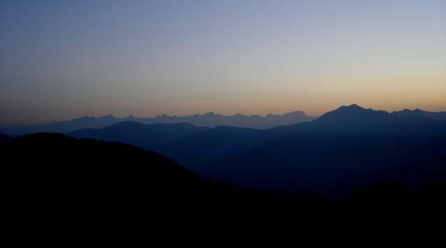 dawn Garhwal Himalayas Kunjapuri Mata Mandir Uttarakhand