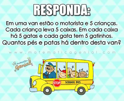 Desafio: Em uma van estão o motorista e 5 crianças. Cada criança leva 5 caixas...