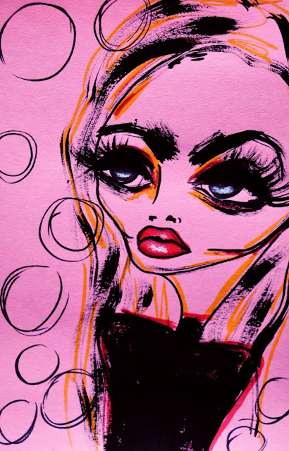 Bebee Pino illustration girl in pink