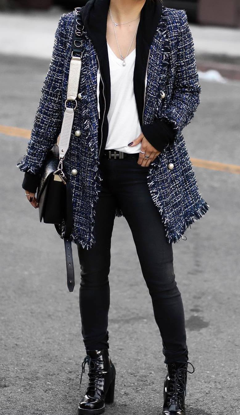 how to wear a tweed blazer : boots + jeans + hoodie + white top + bag