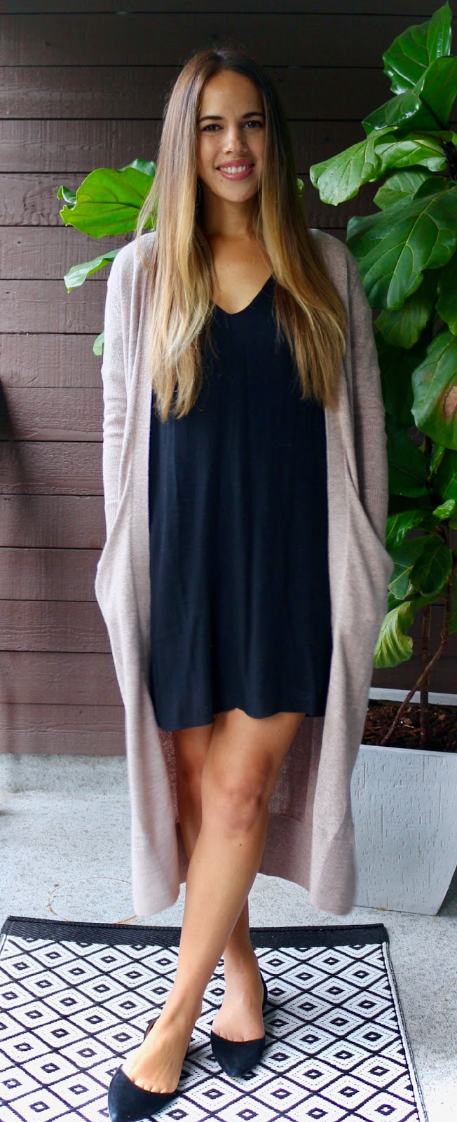 Jules in Flats - Super Long Cardigan with Black Dress (Business Casual Fall Workwear on a Budget)
