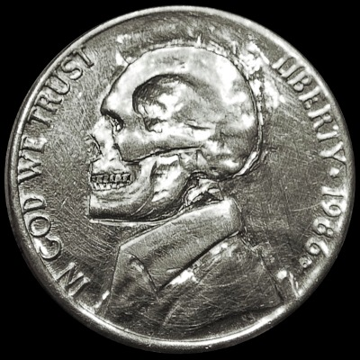 Skull hobo nickel, 1986, In God We Trust