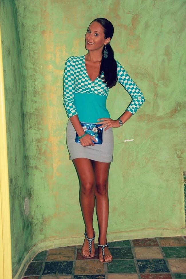 white blue squared print gray mini skirt navy sandals and purse