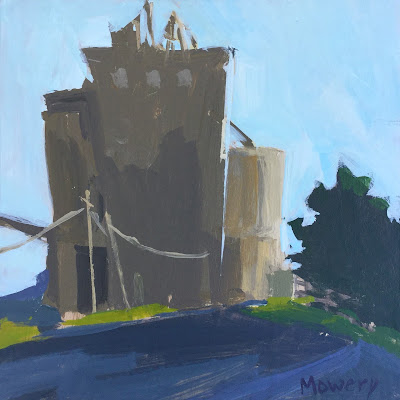 Painting of a feed mill in Snow Hill, Maryland, by artist Barb Mowery.