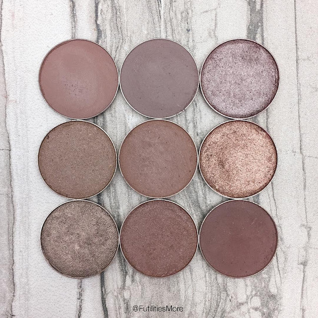 Makeup Geek Taupe eyeshadows pictures and swatches , Side by side comparison