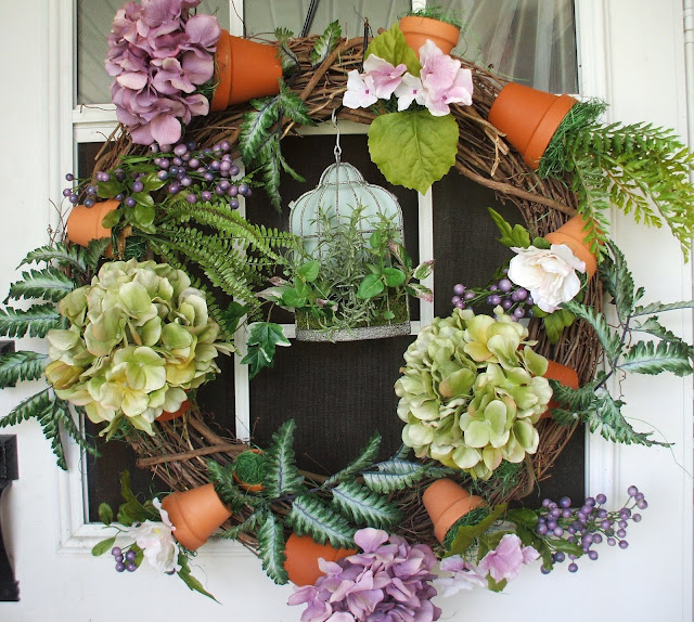Door wreath decorated for summer or spring