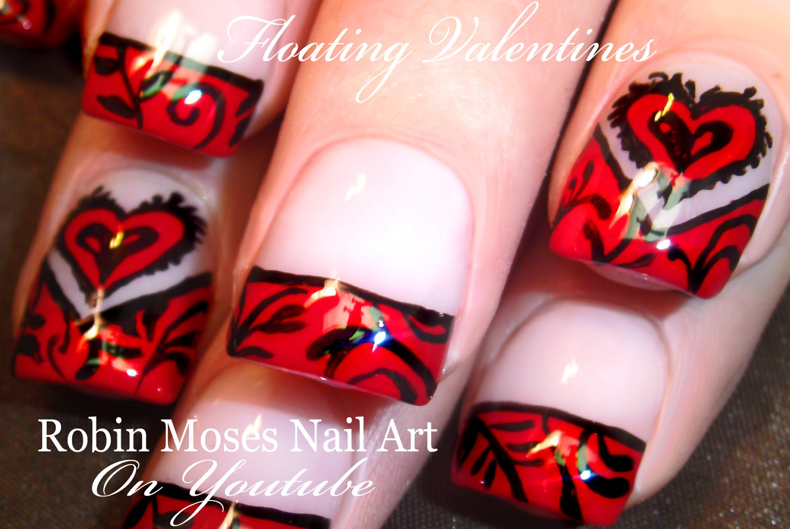 Nail Art By Robin Moses Valentines Day Nail Art Red Heart Nails