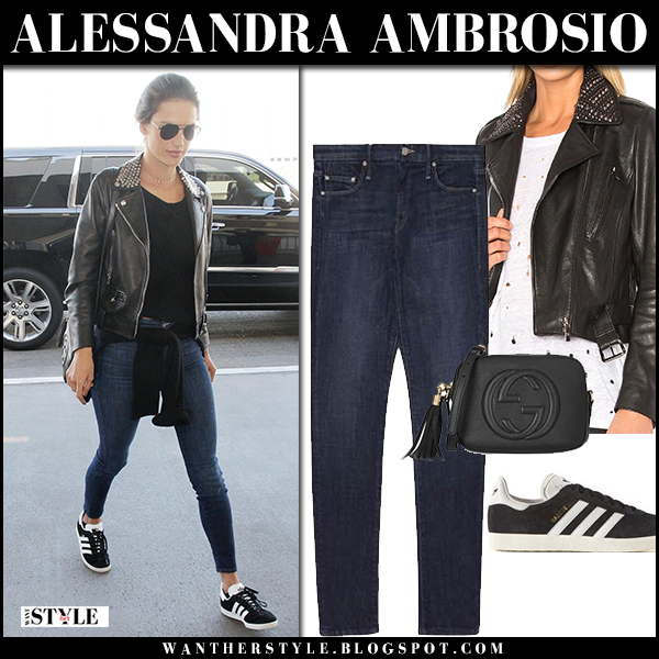 Alessandra Ambrosio in black leather jacket nour hammour, skinny jeans mother and black sneakers adidas street style february 2