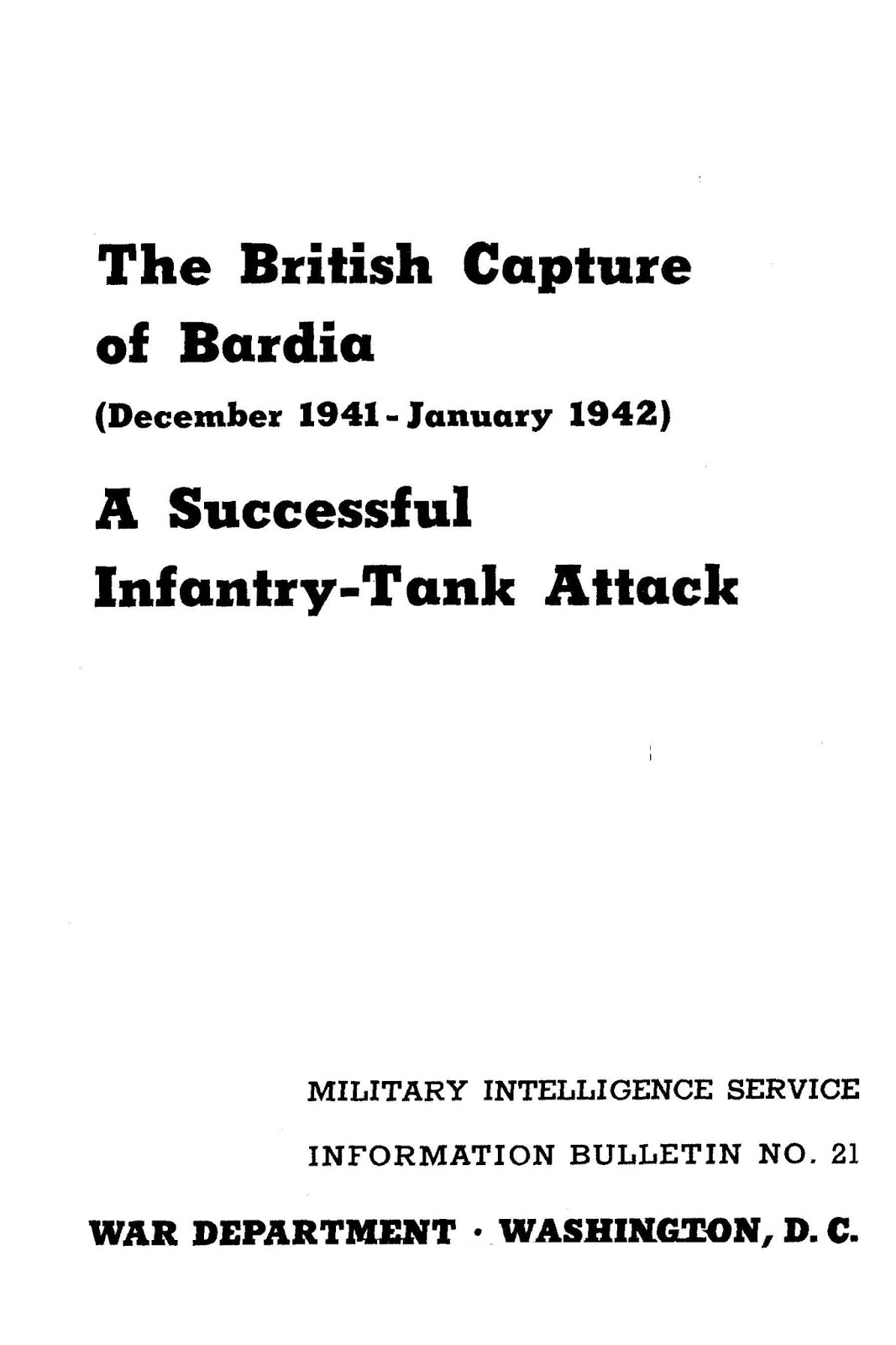 Free Military Manuals The British Capture Of Bardia