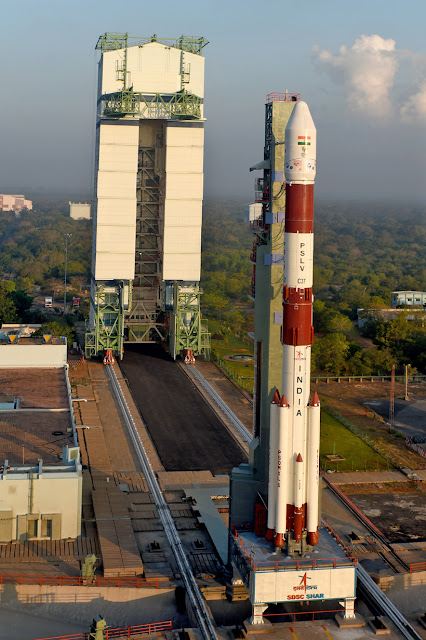 Image Attribute: Fully integrated PSLV-C37 seen with Mobile Service Tower / Source: ISRO