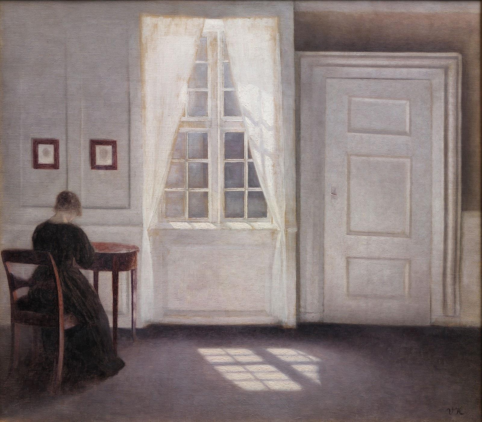 ヴィルヘルム・ハンマースホイのコペンハーゲンのストランゲーデの妻のいる画家の家の一室