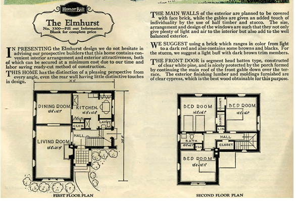 Sears Elmhurst floor plan from the 1929 catalog, retrieved from AntiqueHome.org