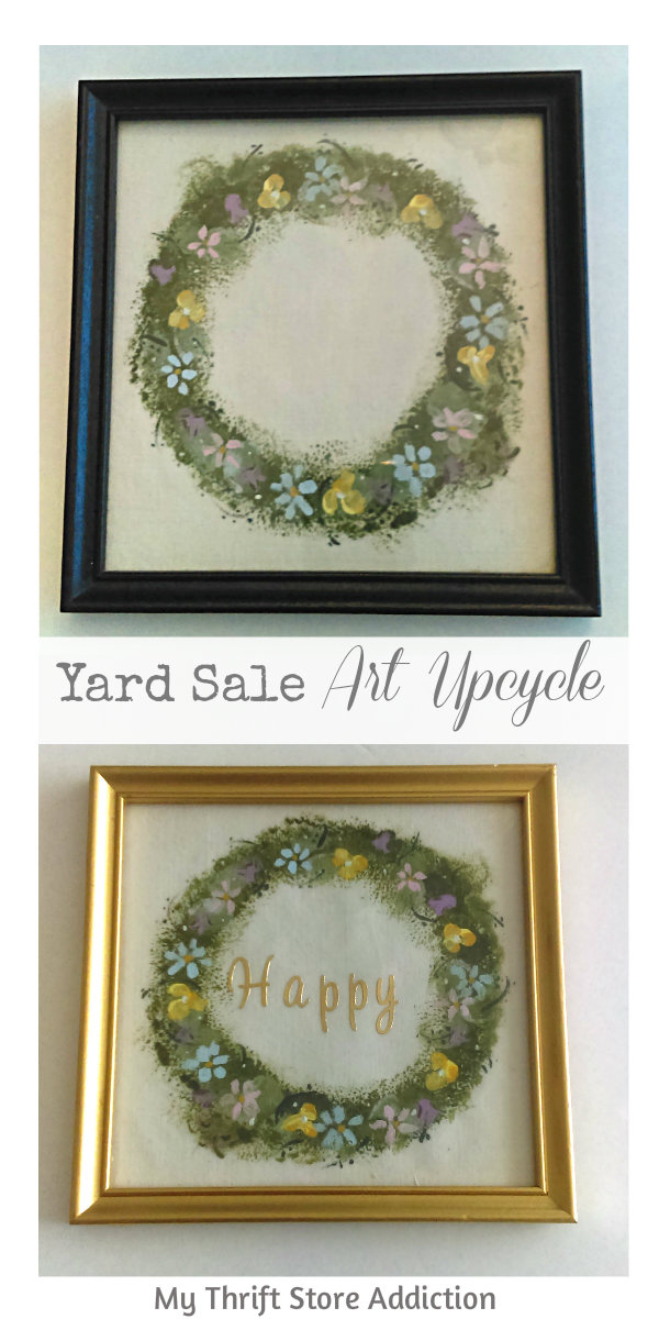 The 15 Minute Fix: Yard Sale Art Upcycle mythriftstoreaddiction.blogspot.com Upcycle $1 yard sale art with gold spray paint and stick on letters: PIN
