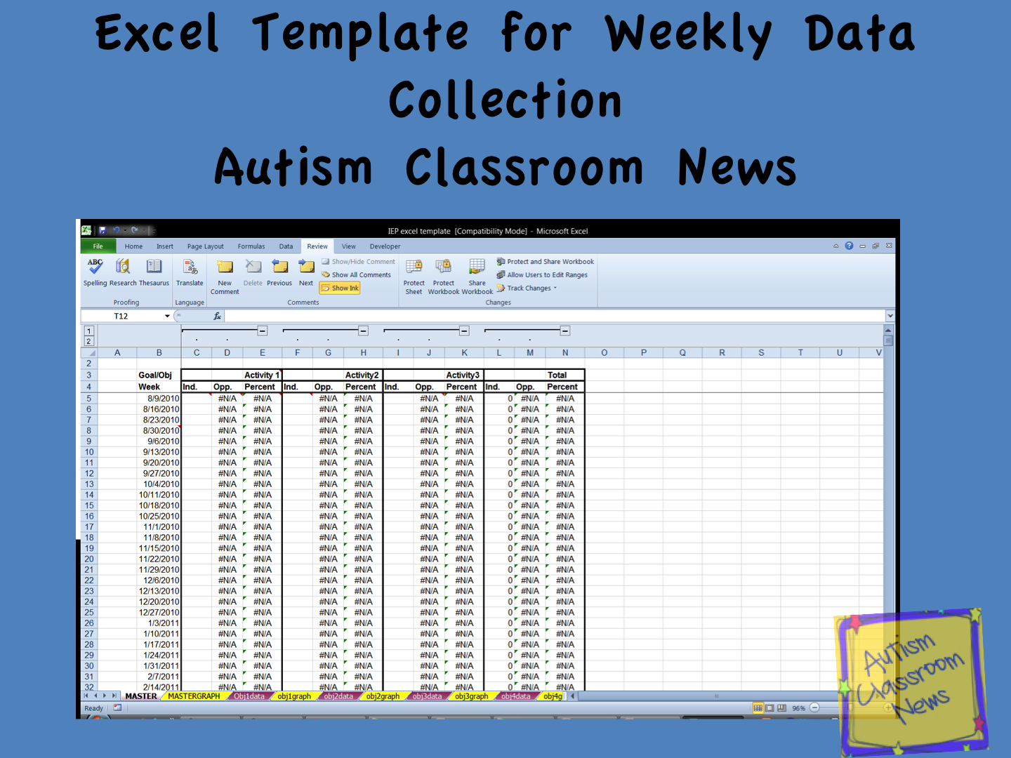 freebie excel template for weekly data analysis with video autism classroom resources. Black Bedroom Furniture Sets. Home Design Ideas