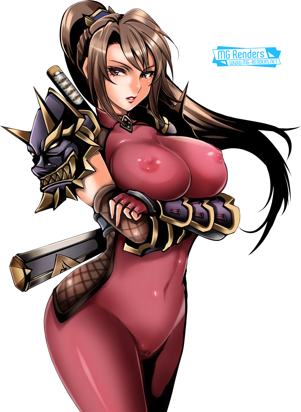 Tags: Anime, Render,  Bodysuit,  Breasts press,  Gloves,  Huge Breasts,  Soulcalibur,  Taki, PNG, Image, Picture