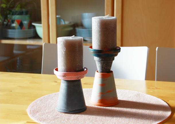 binedoro Blog, DIY, Kerzenständer aus Terracotta, Pflanzenständer, Blumentopf, Ton, Übertopf, Acrylfarbe