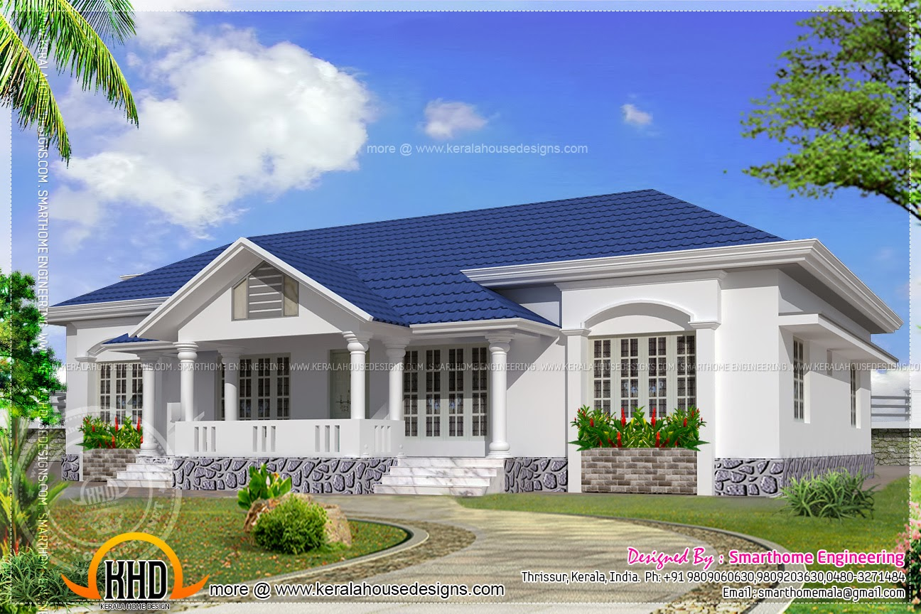 Beautiful single storied 4 bed room villa kerala home for Single floor 4 bedroom house plans kerala