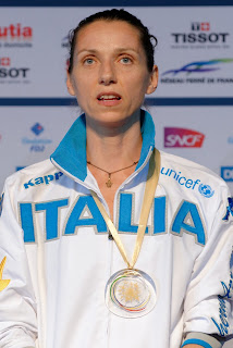 Vezzali with her team gold medal at the  2014 World Championships
