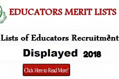 Educators Pre interview merit list 2018
