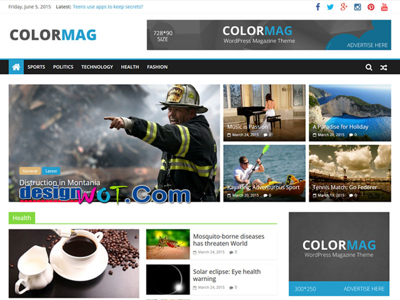 colormag magazine tyle wordpress theme