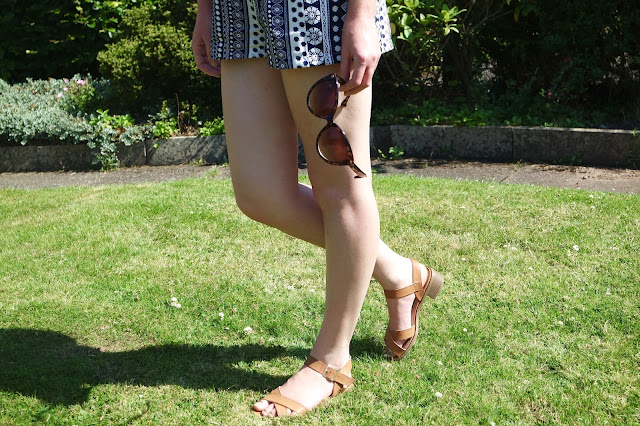 Summer, Heatwave, Playsuit Navy and White Primark, Newlook Sandals in Tan, Pandora Ring, Primark Sunglasses, Fishtail Braid, OOTD, Garden,